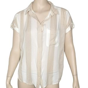 American Eagle Striped Summer HiLo Button Up Shirt